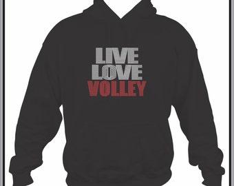 Volleyball Hoodie/ Volleyball Sweatshirt/ Volleyball Clothing/ Volleyball Gift/ Rhinestone Live Love Volley Volleyball Hoodie Sweatshirt