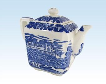 Blue and White Toile Castle Picnic Square Decorative Teapot Vase - Discounted