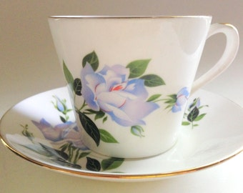 Royal Imperial Tea Cup and Saucer, Lilac Blue Rose Cup, Antique Tea Cups, Tea Set, English Bone China Cup, Antique Teacups, English Tea Cups