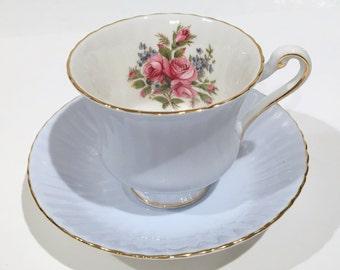 Sky Blue Paragon Tea Cup and Saucer, Pink Roses Blue Cups, Antique Teacups, Antique Tea Cups, Vintage Tea Cups, Tea Party, Tea Set