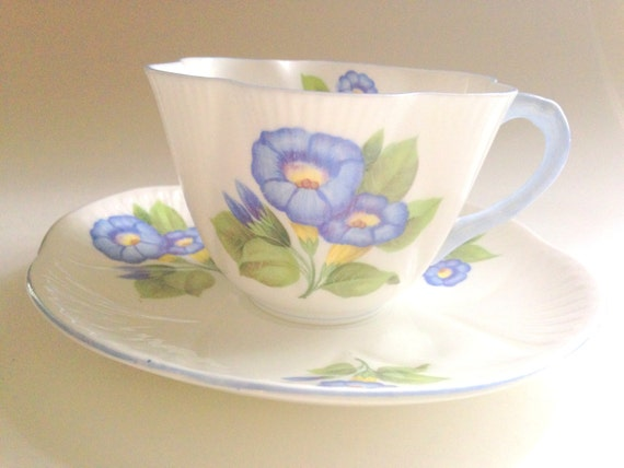 Shelley Morning Glory Tea Cup and Saucer, Shelley China, Tea Set ...