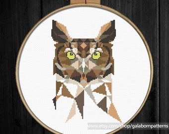 Owl cross stitch pattern pdf, Instant download, Modern cross stitch, Bird cross stitch