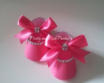 10 Adorable Hot Pink Rhinestone Paper Shoe Favor Boxes