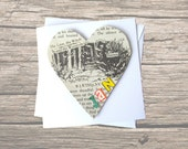 Narnia birthday card: heart shaped card made with original book pages. Personalised card for best friend, brother, sister.