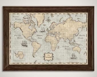 World Map Poster - Rustic Vintage Style