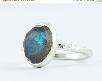 ON SALE Oval Labradorite Bezel Ring - Handmade in Sterling Silver / Vermeil Gold - Size 3 4 5 6 7 8 9 10 11 - March Birthstone Ring