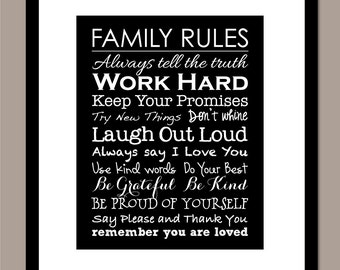 "Family Rules Sign Family Rules Printable Family Rules Print Housewarming Gift Printable Instant Download Digital 8""x10"" Print"
