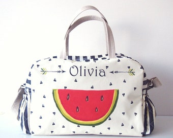 PERSONALIZED DIAPER BAG / personalized nappy bag/ Watermelon diaper bag/ personalized baby gift/ personalized baby bag/