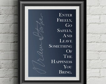 Bram Stoker Dracula Quote Poster - Enter Freely, Go Safely
