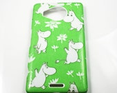 Green Moomin HTC One A9 Samsung On7 Microsoft Lumia 950950XL Hard Shell Skin Cover Case Wallet