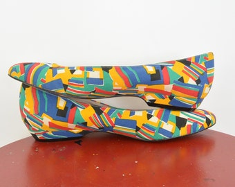 Abstract Flats Pointed Toe Dress Shoe Confetti Primary Colors 80's Life Stride Size 6 1/2