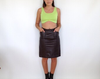 Leather Fitted Pencil Skirt High Waisted Puff out Angled Pockets Tibor Size 6 Brown Leather Skirt Knee Length