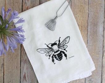 Tea Towel - Flour Sack Towel - Dish Towel - Hand Printed Towels - Bee Towels