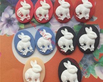 Wholesale 100pcs 25x18mm assorted(5 colors) Rabbit resin Cabochons/cameos