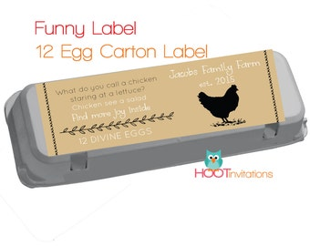 Vintage hand drawn style custom egg carton labels to print at for Egg carton labels template