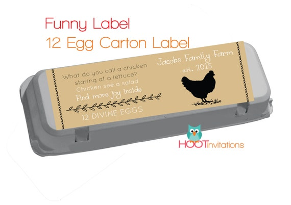 Funny egg carton labels to print at home one dozen 12 egg for Egg carton labels template