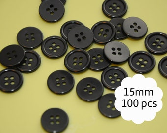 Black buttons 15mm, bulk buttons, round black buttons, sewing buttons - pack of 100