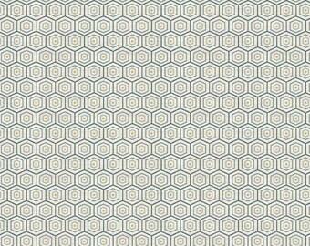 Greys Court Hexagon Blue - 1/2yd