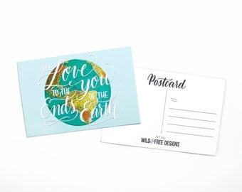 4x6 Postcard Love to Ends of Earth Moms, Dads and Grads Globe Print Hand Lettering Travel mint blue Postcard set