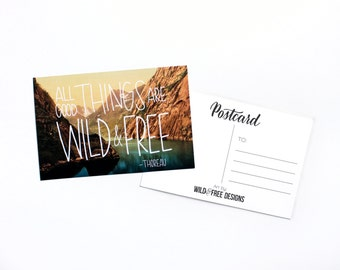 4x6 Postcard Wild and Free Vintage Print Moms, Dads and Grads Hand Lettering Landscape Travel Mountains Wanderlust Postcard set