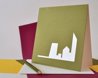 "Colorful papercut greeting card ""city"" minimal geometric wishing card yellow orange red blue khaki purple grey business gift white buildings"