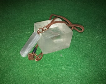 Medium Selenite Pendant with Brown Suede Leather Chord