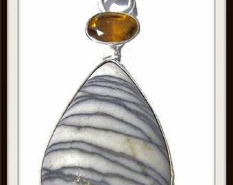 Large Cocolite & Citrine 925 Sterling Silver Pendant Necklace