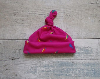 Pink Parrot Baby Tie Knot Hat Baby Girl