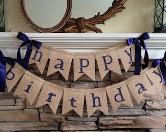 Happy Birthday Banner, Happy Birthday Burlap Banner, Happy Birthday Bunting, Happy Birthday Banner, Birthday Party, Happy Birthday