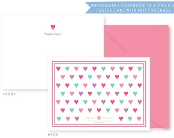 Personalized Everyday Stationery, Hearts, Boxed Set of 10 Notes & Envelopes