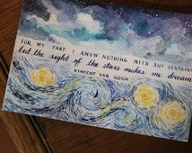 Van Gogh quote - Watercolour painting and calligraphy (A6)
