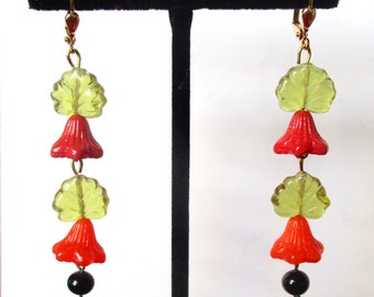Pair of Vintage Czechoslovakian 3-Inch  Crystal Earrings With New Ear Wires