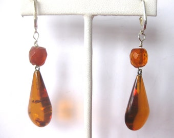 Pair of  2 1/2-Inch  Natural  Amber Earrings