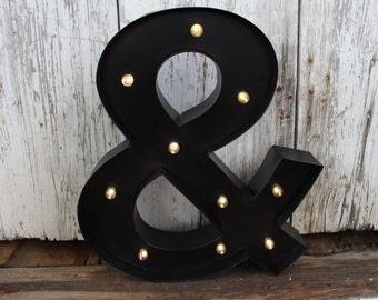 Lighted Ampersand & Metal Letter Sign,marquee,light up,vintage,wedding,photo booth,engagement,home decor,photo collage wall,office,dorm