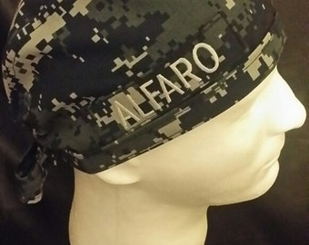 US Navy NWU Blue Camo Tie Back Surgical Scrub Hat