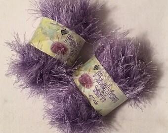 Two Skeins Nicole Fashion Yarn  Color Sparkle Lavender