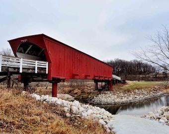 Roseman Bridge The Bridges of Madison County Part 2 - Iowa Iconic Love Story Bridge Old Historic Architecture Red Wooden Fine Art Print