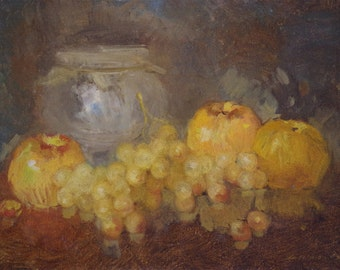 Still life with Grapes, Paintings for Kitchen, oil Painting, One of a kind, Handmade, Classic art,  Signed with Certificate of Authenticity