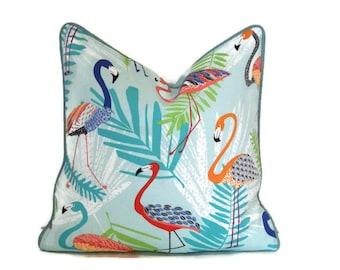 Flamingo Outdoor Pillow Cover-Tropical Print Pillow Cover-Aqua Outdoor Pillow Cover-Teal,Orange,Coral,Green Pillow Cover