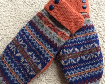 A13  Felted wool mittens  lined with fleece   Size small