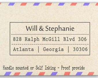 Custom Personalized Return Address, Mounted Rubber Stamp AW37