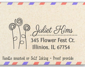 Custom Personalized Return Address Mounted Rubber Stamp - Sunny Flora - AW32
