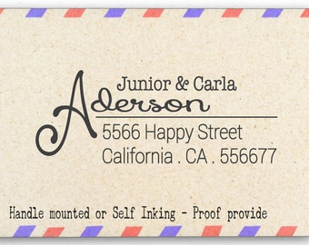 Custom Personalized Return Address Mounted Rubber Stamp AW33