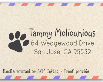 Custom Personalized Return Address Stamp - Rubber Stamp - Paw Print - AW71