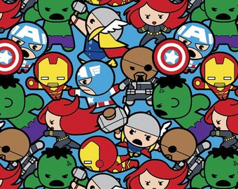 Marvel Kawaii All in the Pack Fabric By the Yard
