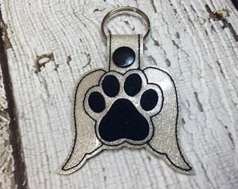 Angel Paw Print - PET LOSS - In The Hoop - Snap/Rivet Key Fob - DIGITAL Embroidery Design