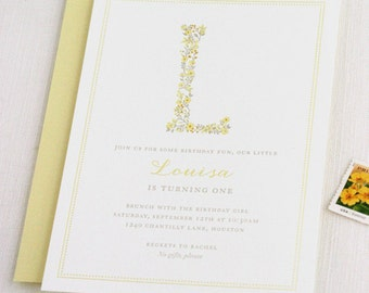 Sunshine Letterpress Birthday Invitations