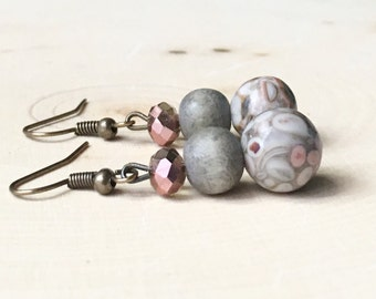 Grey Jasper Beaded Earrings//Grey and Pink Earrings//Grey Beaded Earrings