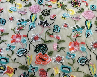 1 Yard Multicolor Lace Fabric,Floral Dress Lace Fabric, Wedding Bridal Dress Fabric, Embroider French Lace