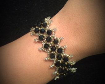 Black & Silver Netted Crystal Bracelet
